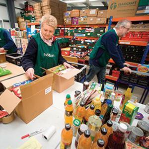 Volunteers working at a food bank