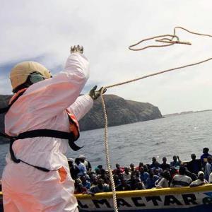 Migrants in the Med in a boat