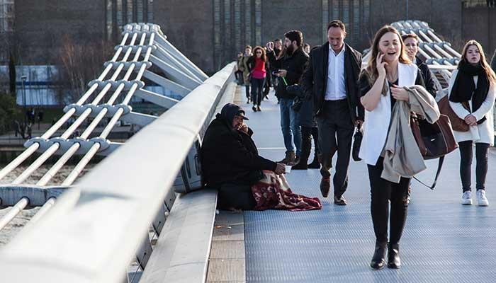 Homeless person on Millennium bridge